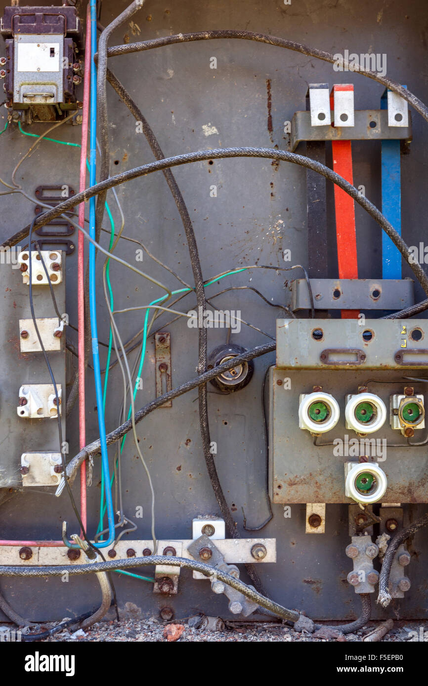 old broken circuit breakers at switchboard stock photo 89450004 alamy