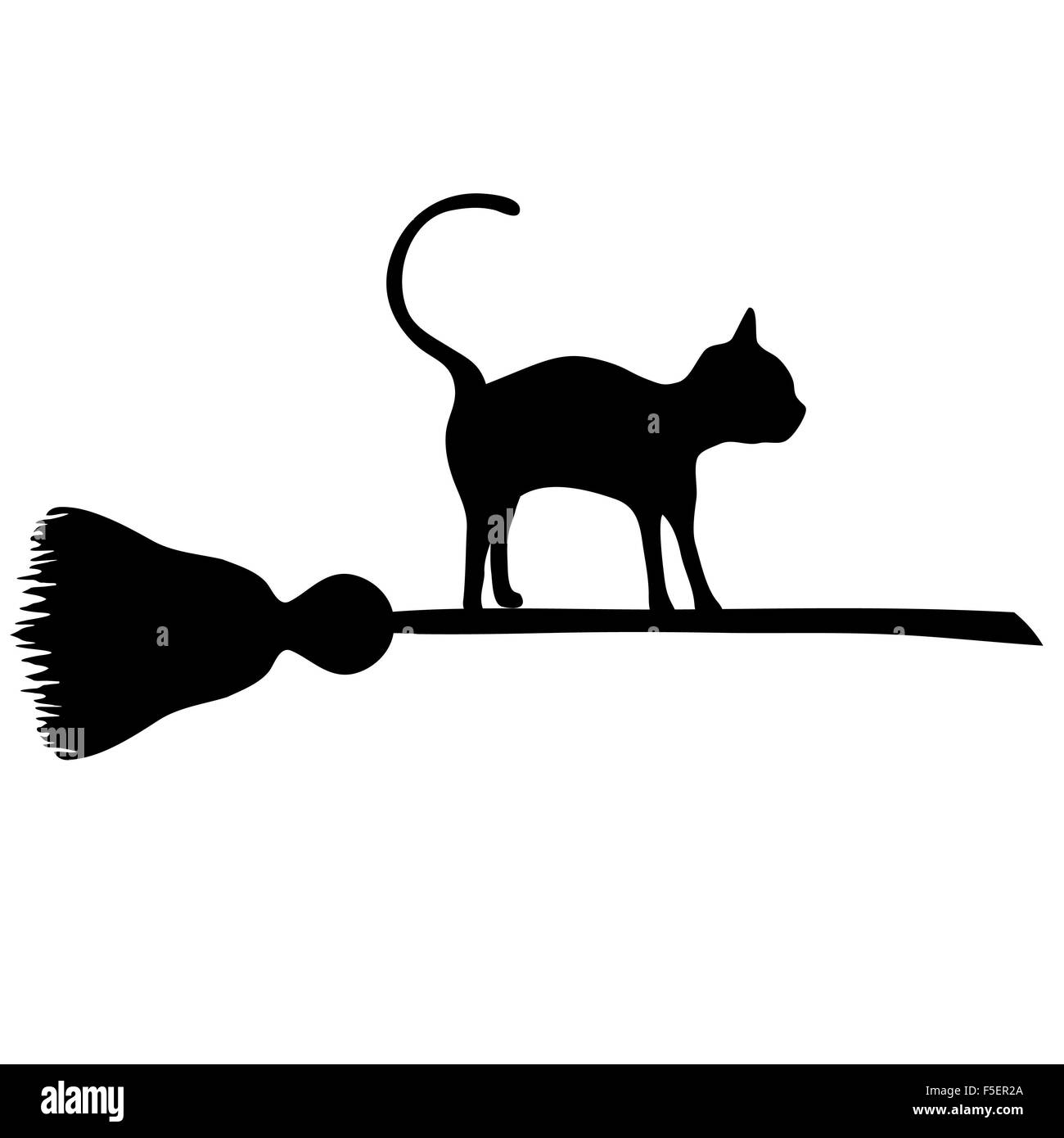 Black cat flying on a sweeper. Vector illustration to Halloween. Halloween banner . - Stock Image