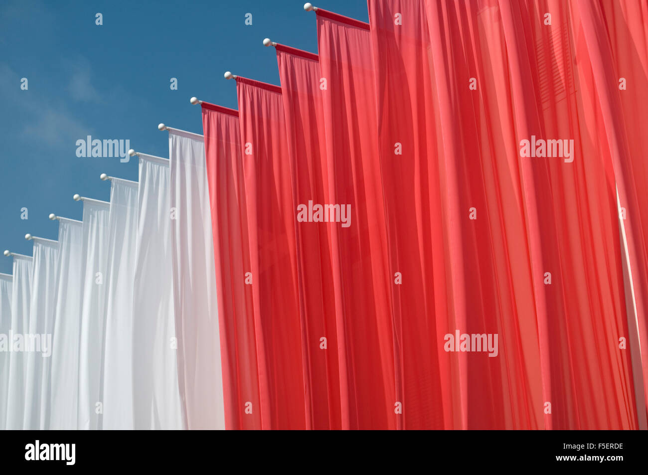 red and white banners - Stock Image