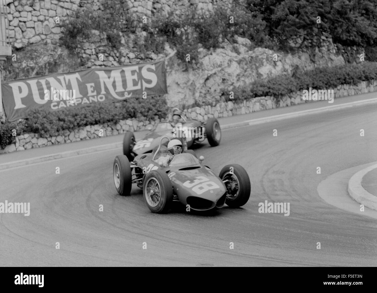 Ferrari 156 Sharknose, Phil Hill leads Richie Ginther through hairpin, 1961 Monaco Grand Prix - Stock Image