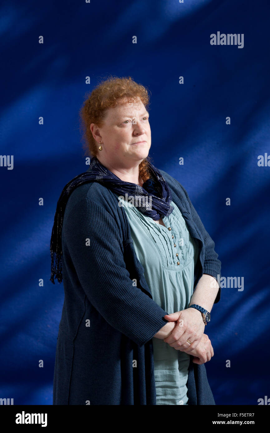 A portrait of Sue Black in the Edinburgh International Book Festival  2012 is sited in Charlotte Square Gardens. - Stock Image