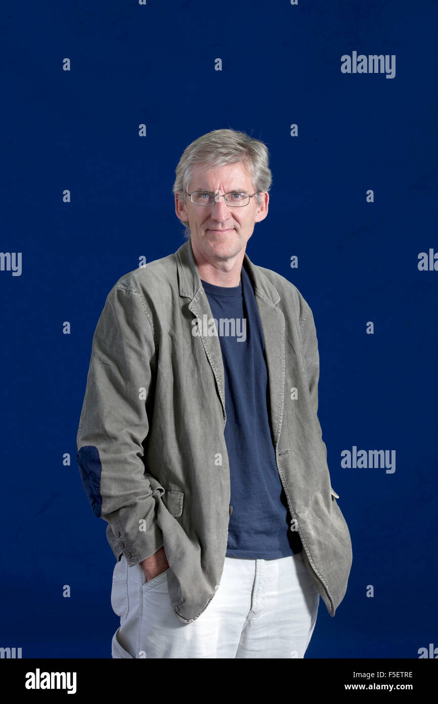 A portrait of Clive Stafford Smith in the Edinburgh International Book Festival  2012 is sited in Charlotte Square - Stock Image