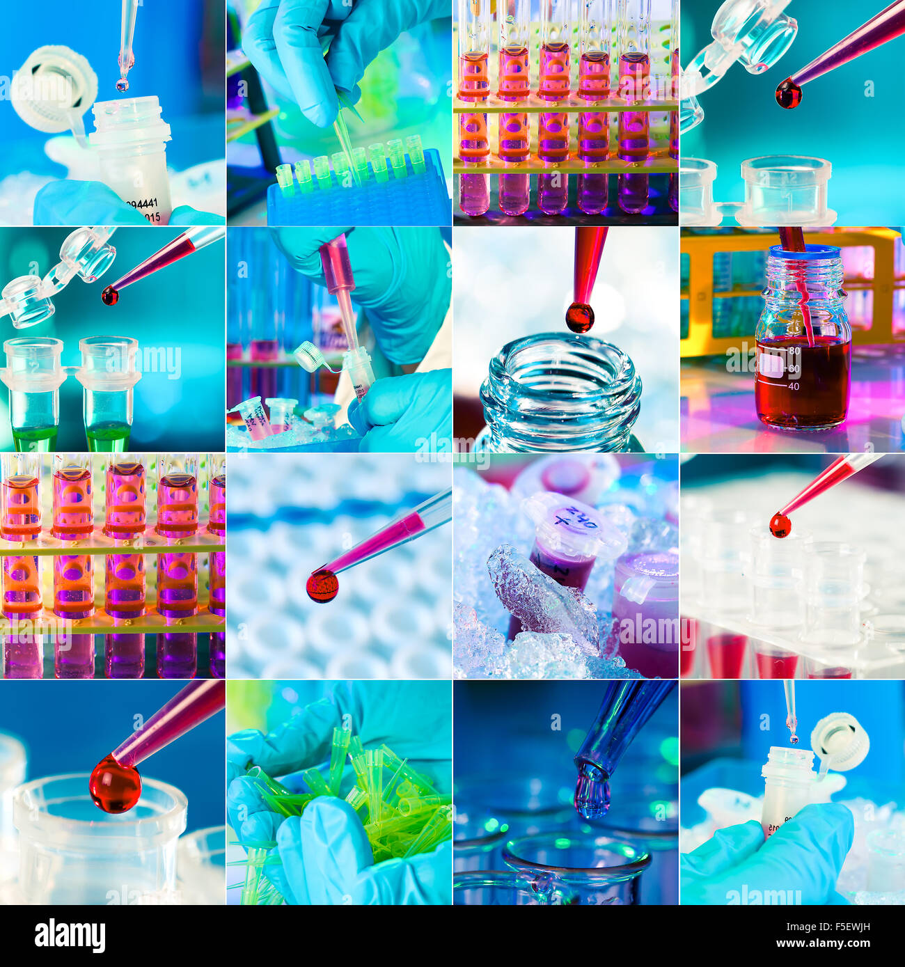 Work in the microbiology laboratory, medical research set - Stock Image