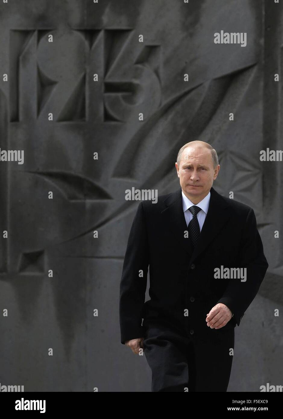 Russian President Vladimir Putin at a memorial ceremony for the Armenian genocide's victims at the Tsitsernakaberd - Stock Image