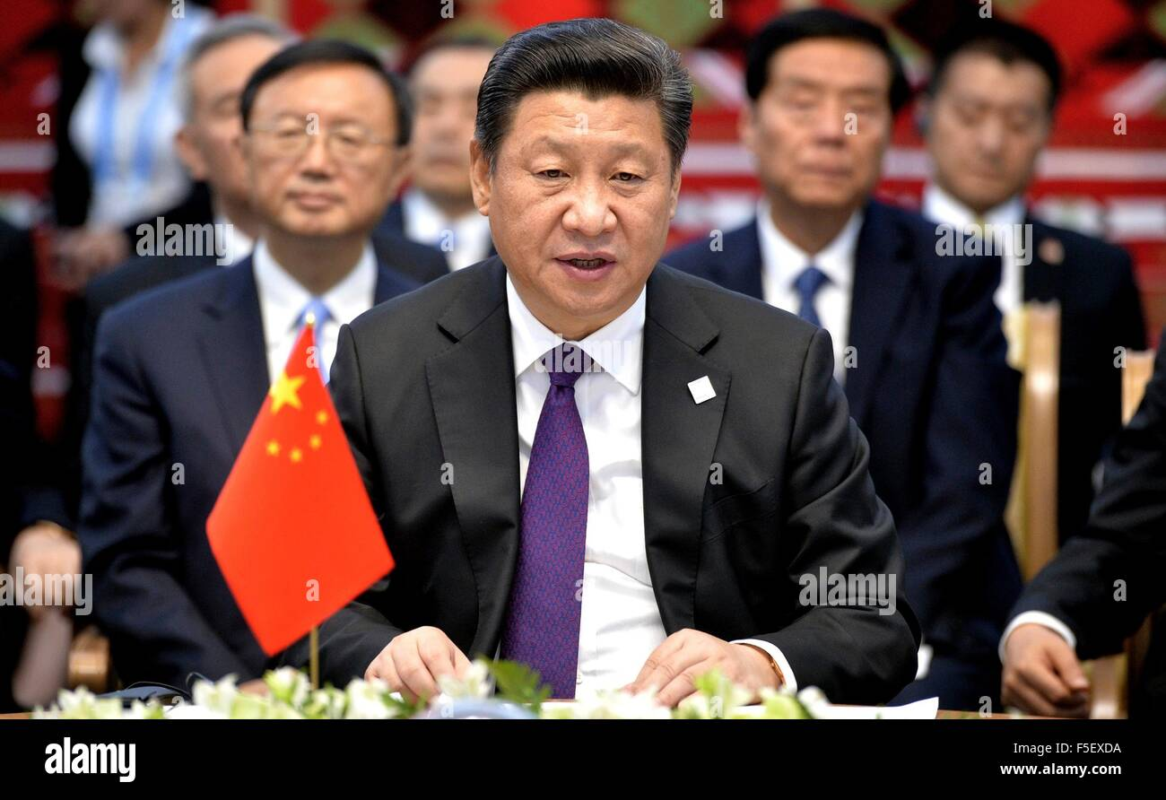 Chinese President Xi Jinping during the Shanghai Cooperation Organization summit July 10, 2015 in Ufa, Republic - Stock Image