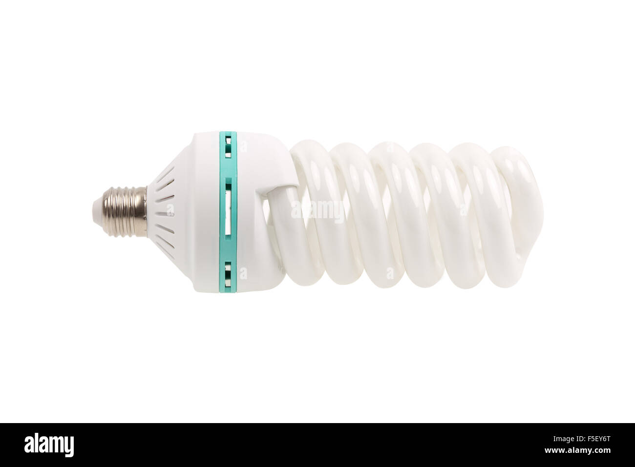 A green light bulb energy saving isolated on white background  A