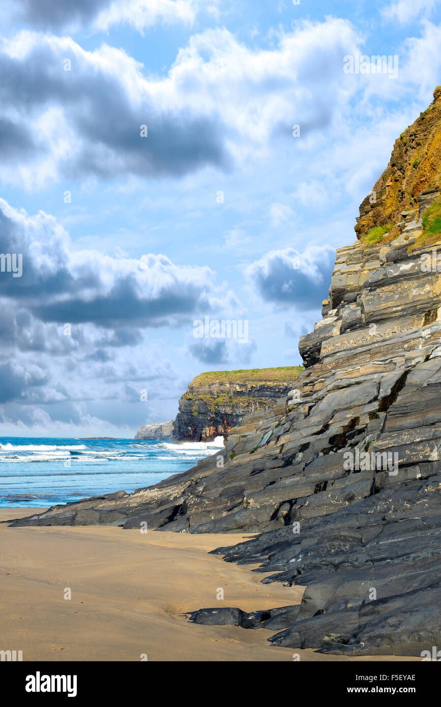 cliffs on the beach of ballybunion in the wild atlantic way ireland - Stock Image