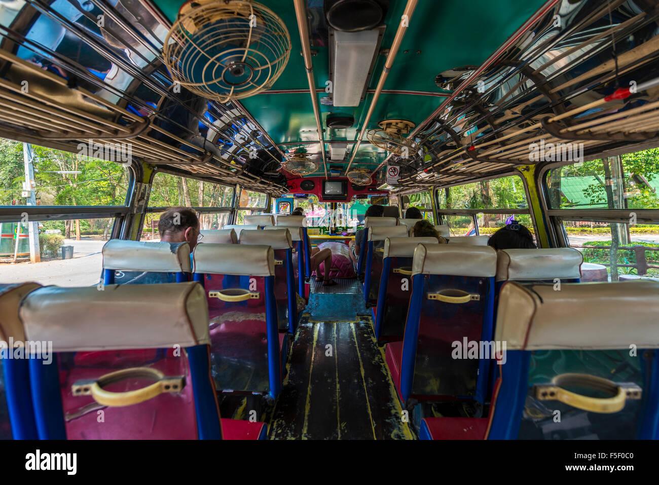 Thai bus interior, Kanchanaburi Province, Central Thailand, Thailand - Stock Image