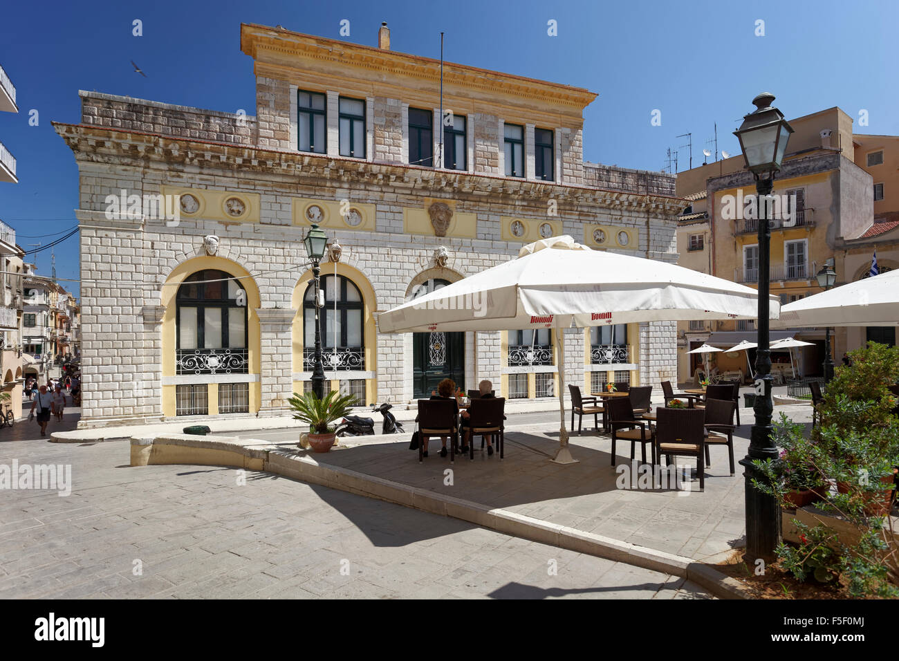 Town hall square with town hall or Dimarcheion at Platia Dimarchiou, Kerkyra historic centre, Corfu town - Stock Image