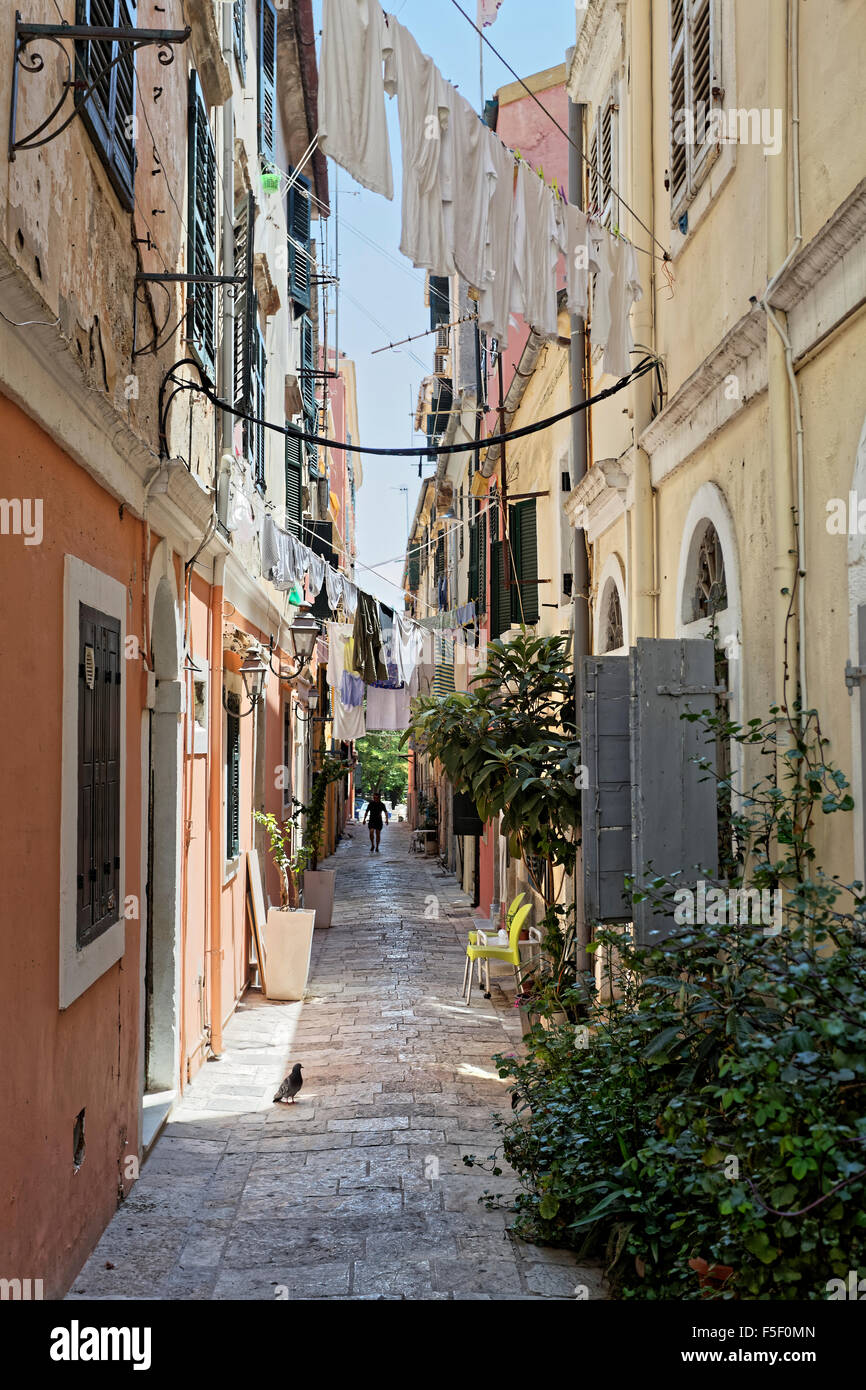 Narrow alley, hanging laundry, Kerkyra historic centre, Corfu town, Unesco World Heritage Site, Corfu, Ionian Islands, - Stock Image