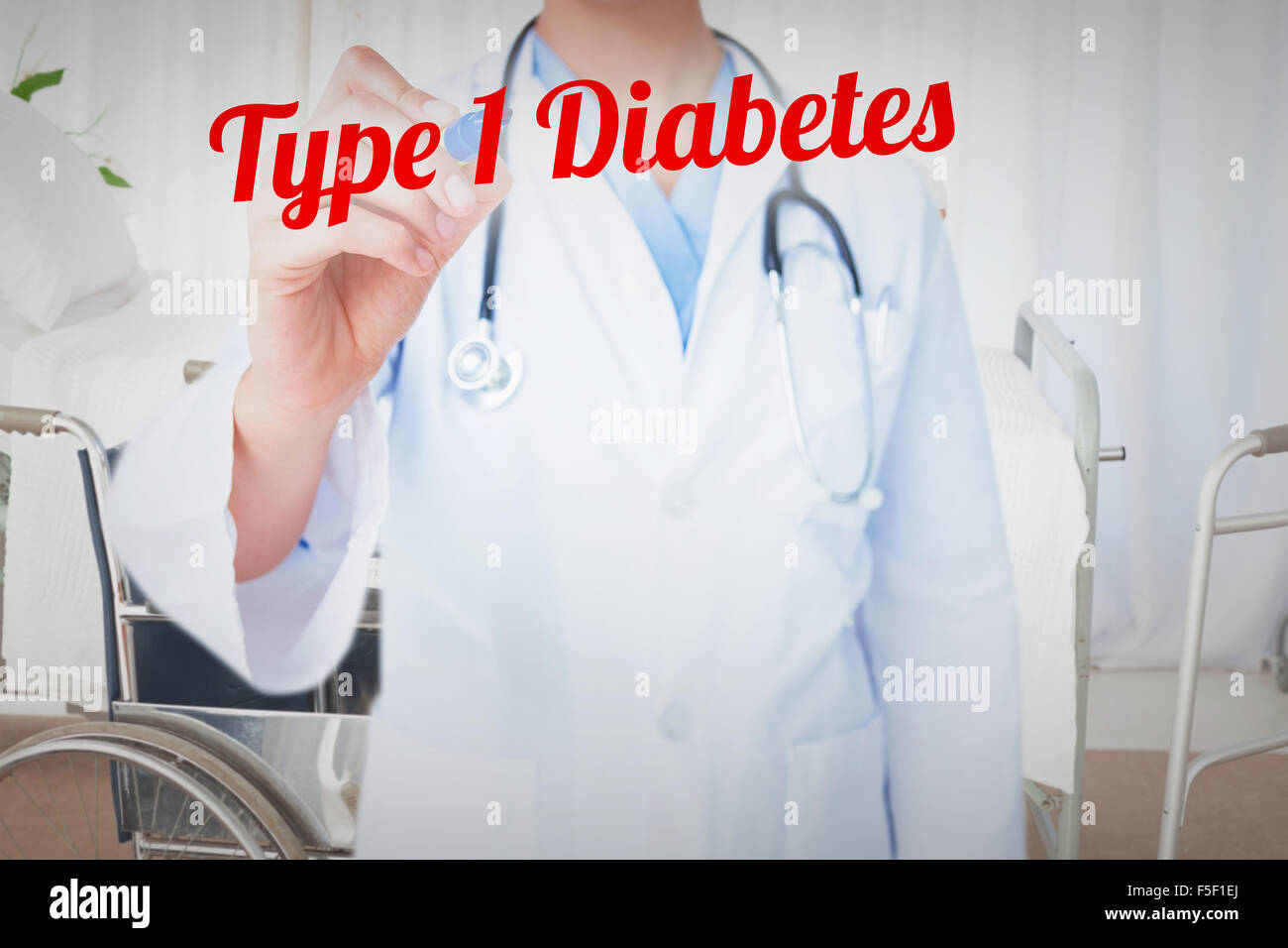 Type 1 diabetes against bright white room with windows - Stock Image