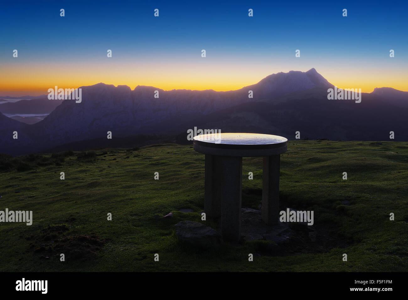 Urkiola mountain range from Saibi with orientation table - Stock Image