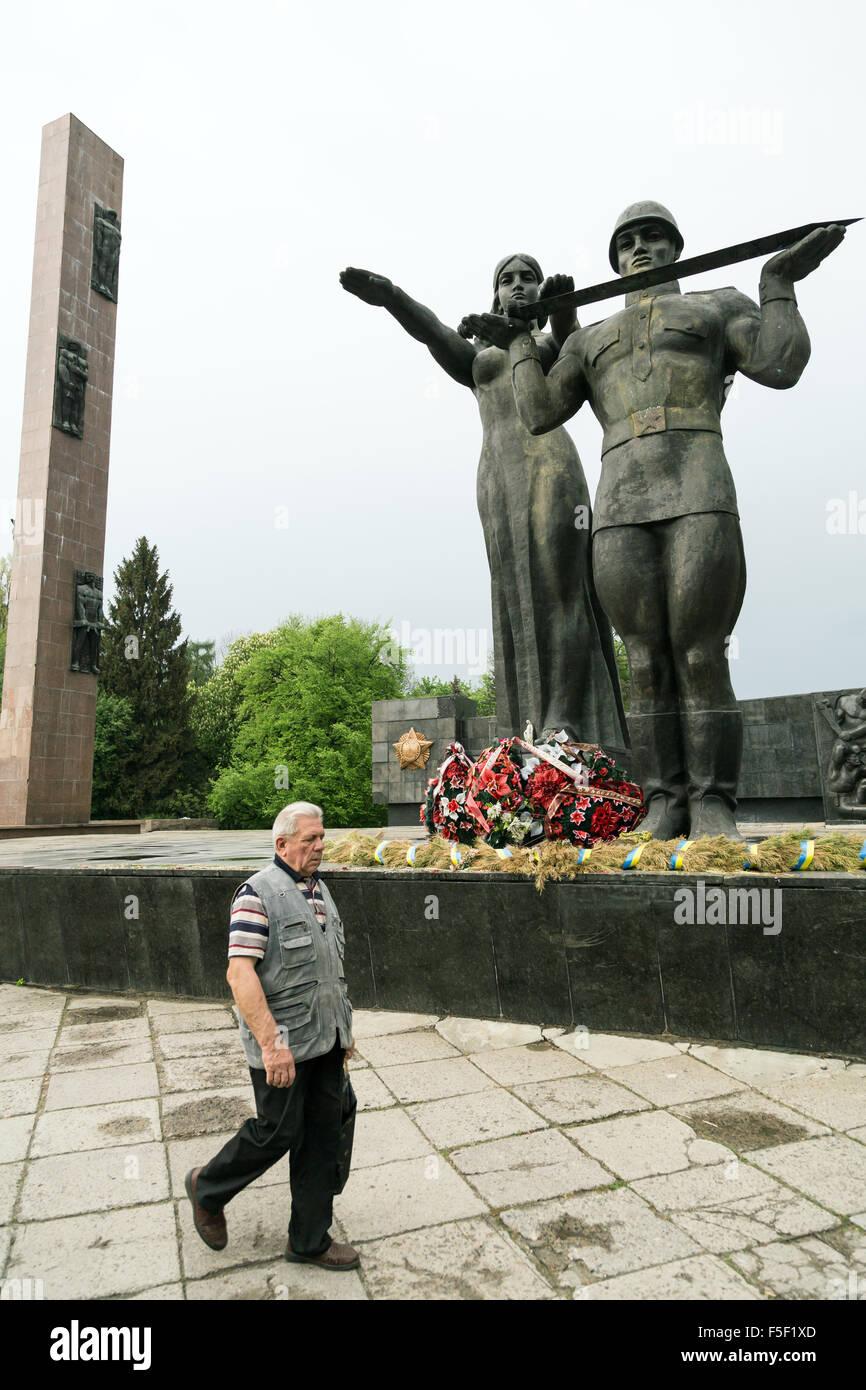 Lviv, Ukraine, memorial of Soviet times is reminiscent of the Great Patriotic War - Stock Image