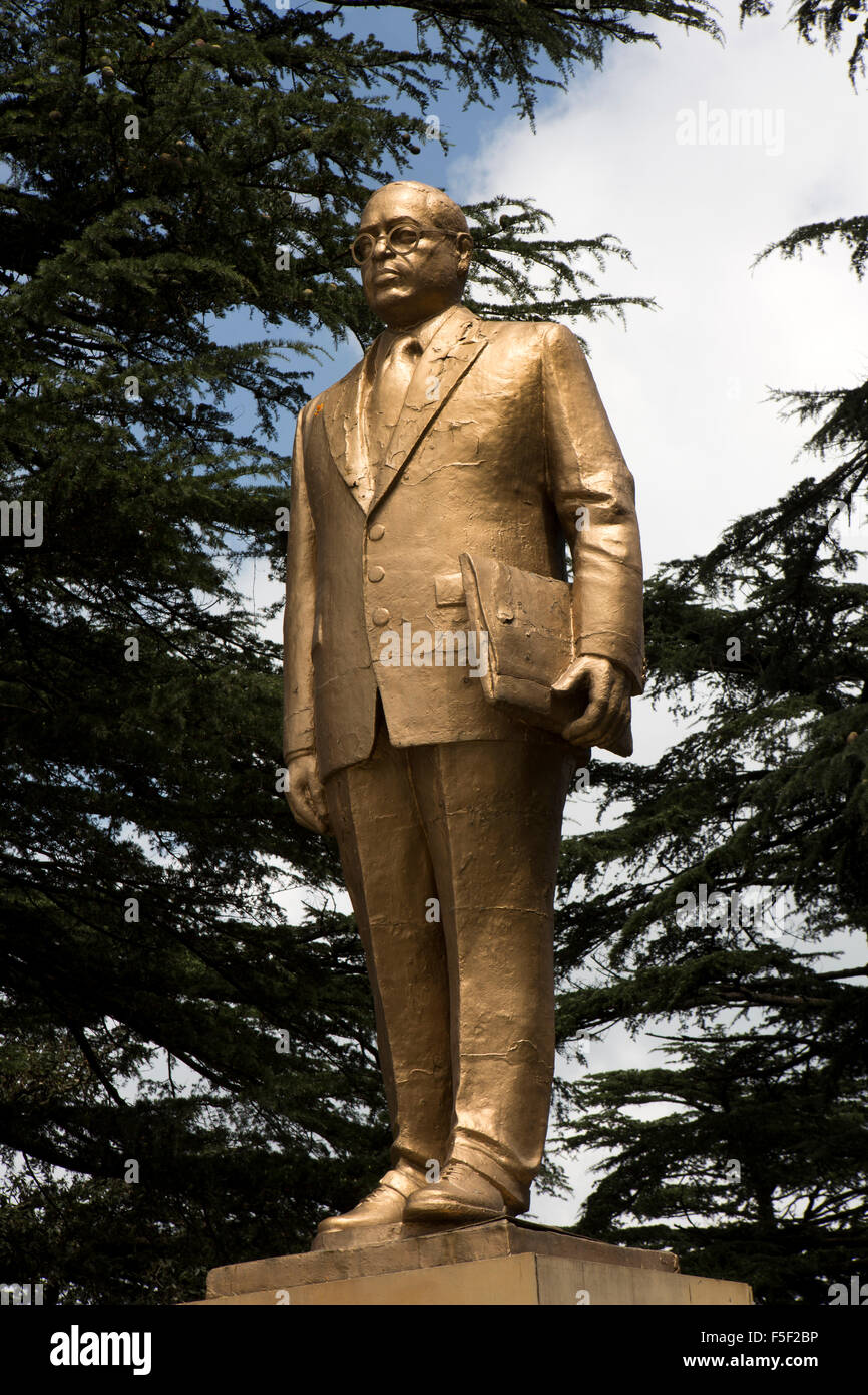 India, Himachal Pradesh, Shimla (Simla), Mall Road, Gilded Statue of Bharat Ratna Dr Bhim Rao Ambedkar - Stock Image