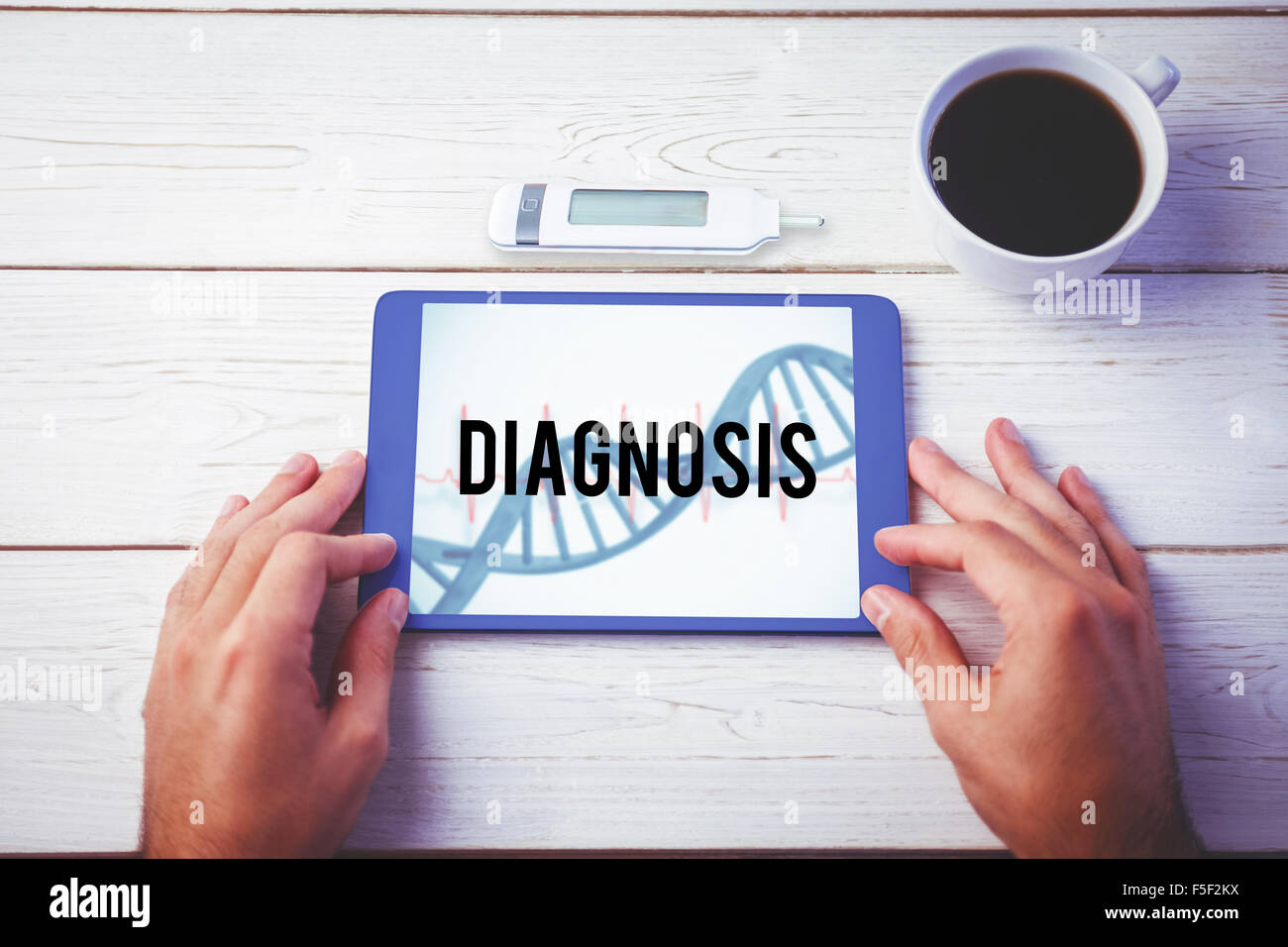 Diagnosis against blue medical background with dna and ecg - Stock Image