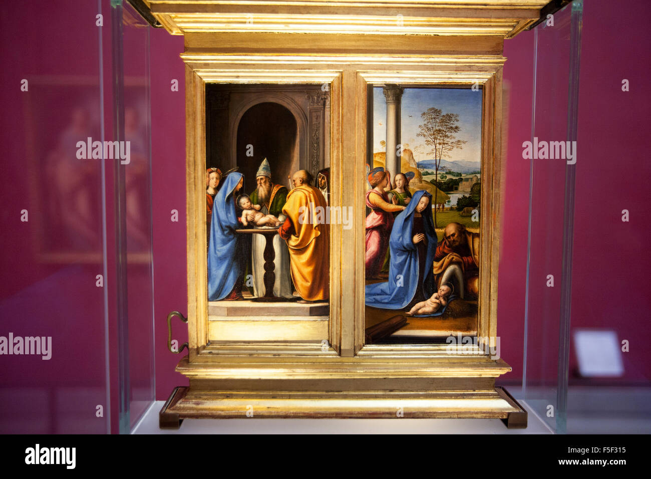 The Circumcision and the Nativity c1500  by  Fra' Bartolommeo  in the Uffizi Gallery, Florence Italy - Stock Image