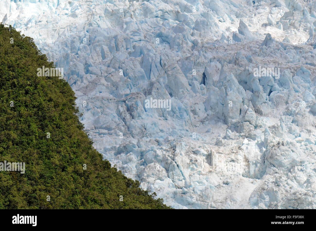 Franz Josef Glacier, a glacier melting due to climate change, Franz Josef, South Island, New Zealand Stock Photo