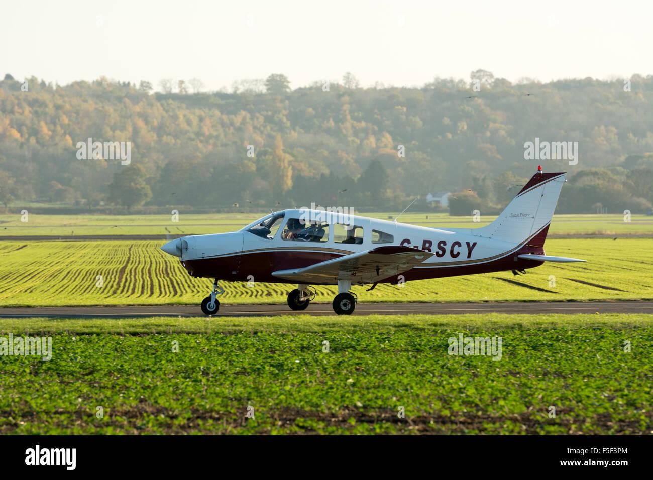 Piper PA-28 Cherokee Warrior at Wellesbourne Airfield, UK (G-BSCY) - Stock Image