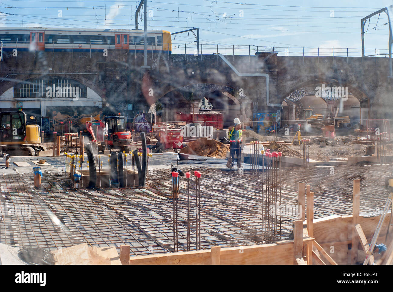 view through glass of building site distortion - Stock Image