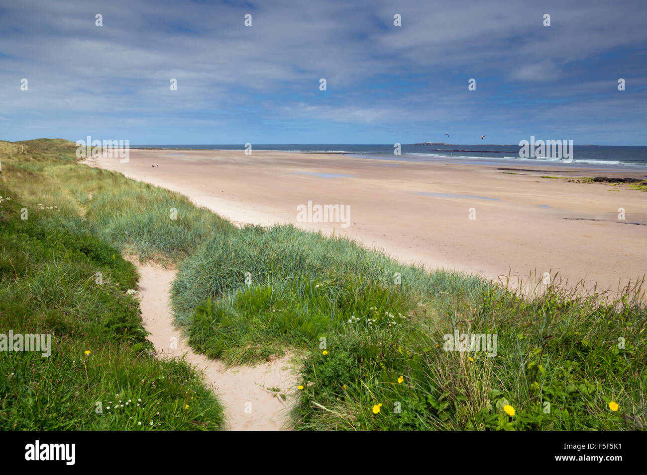 Seahouses Beach; Farne Islands in Distance; Northumberland; UK - Stock Image