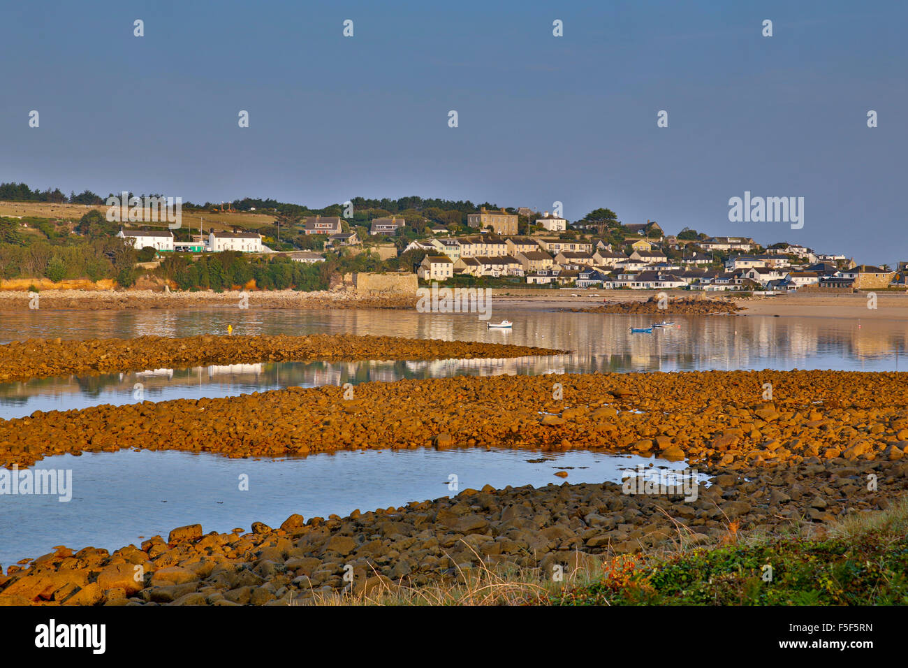 Hugh Town; Porth Cressa; St Mary's; Isles of Scilly; UK - Stock Image