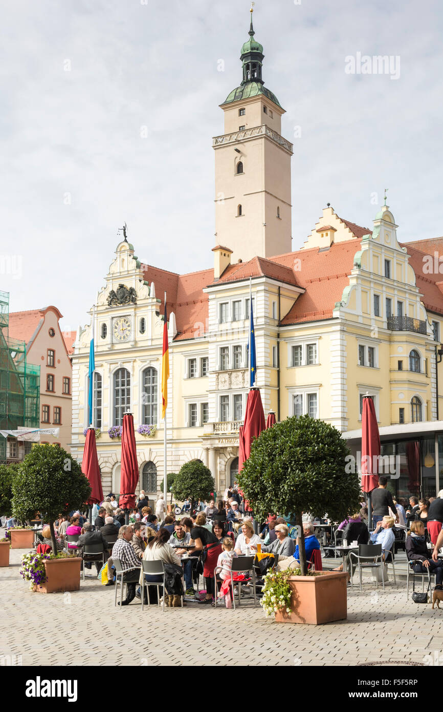 INGOLSTADT, GERMANY - OKTOBER 3: Tourists in a cafe in front of the historic town hall of Ingolstadt, Germany on Stock Photo