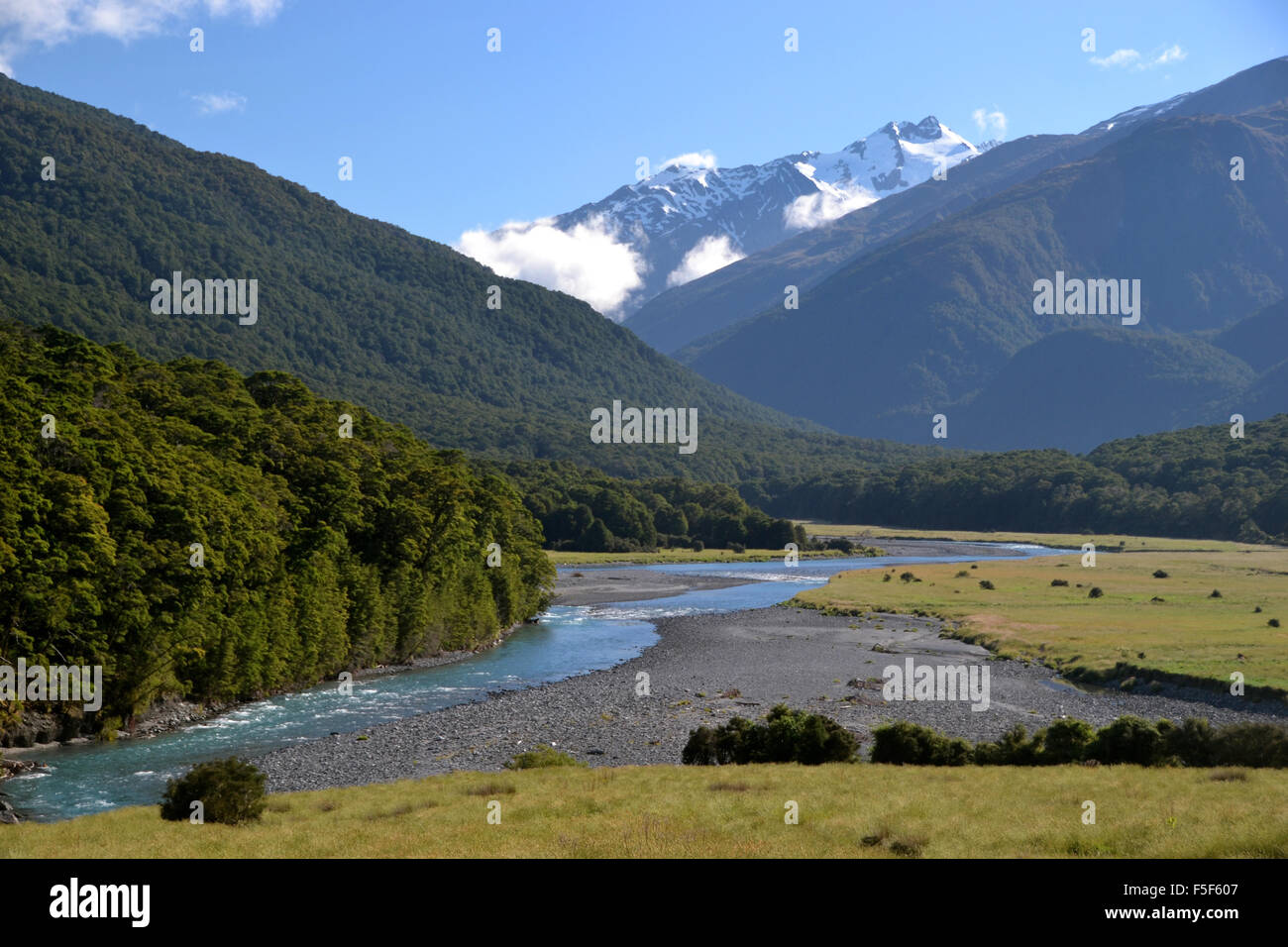 A river crosses the landscape in the South Island, New Zealand - Stock Image