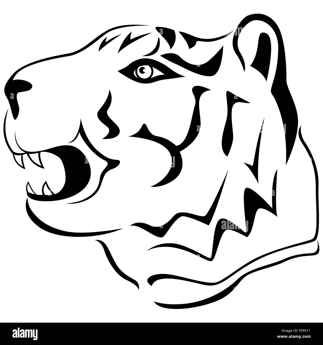 Adult tiger head profile, hand drawing cartoon vector outline isolated on a white background - Stock Vector