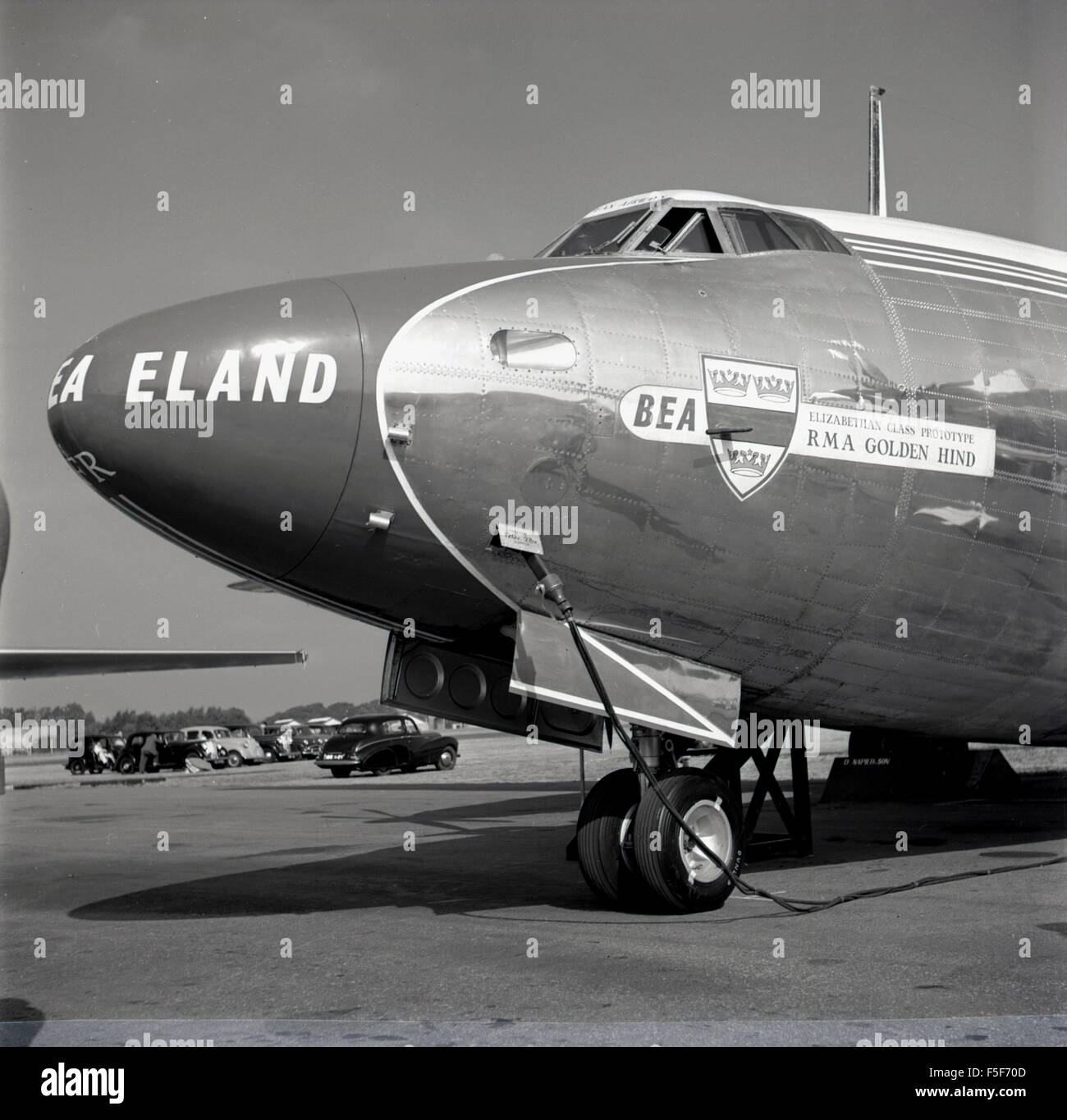1955, historical picture showing the front and cockpit of the BEA RMA Golden Hind aircraft. This was a Elizabethan - Stock Image