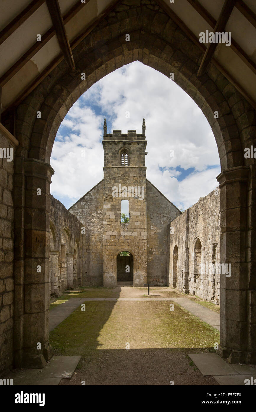 The Ruined Church of St Martin, Wharram Percy deserted medieval village, Yorkshire Wolds south of Malton - Stock Image