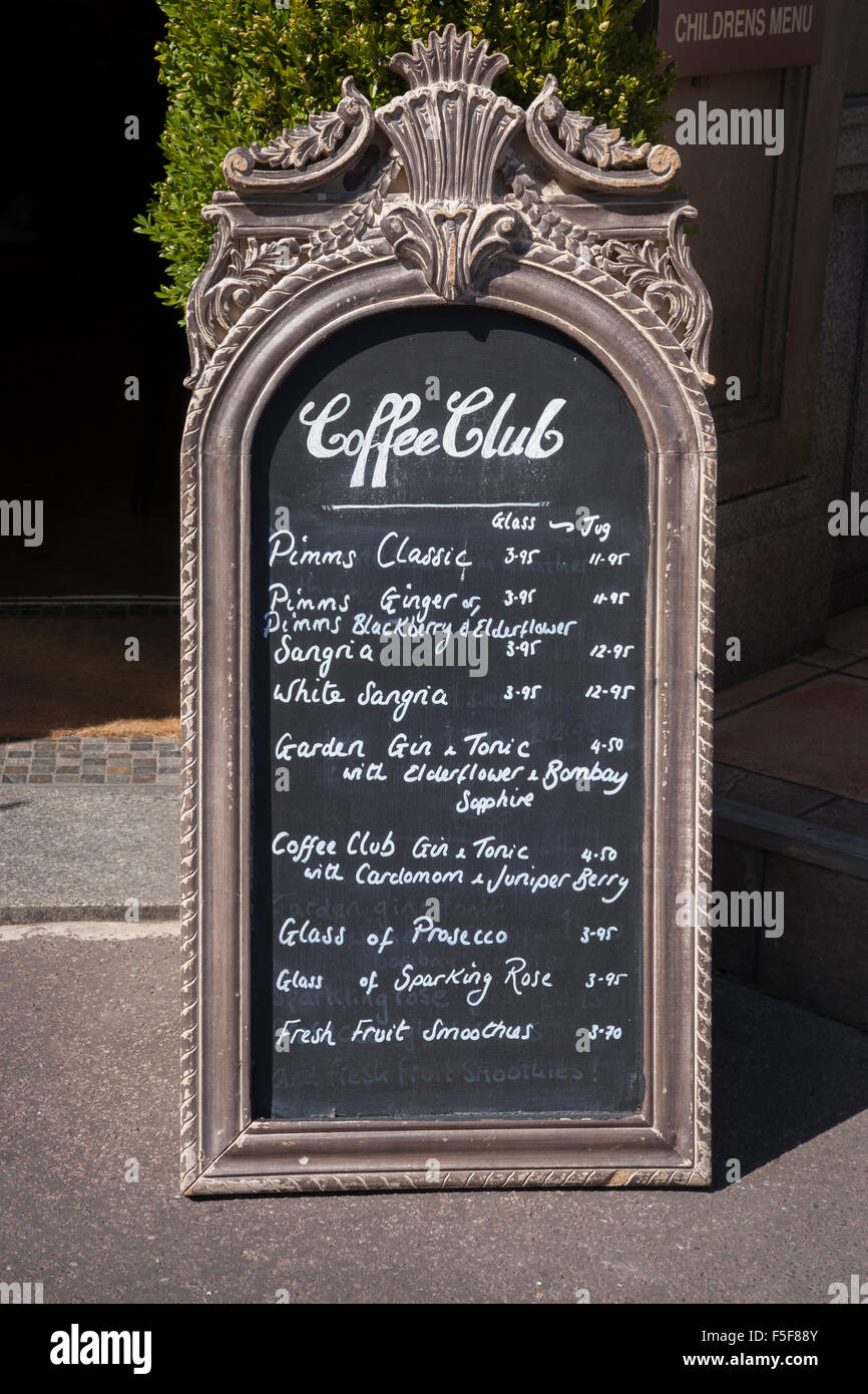 Coffee Club Menu Board; Westbourne; Bournemouth - Stock Image