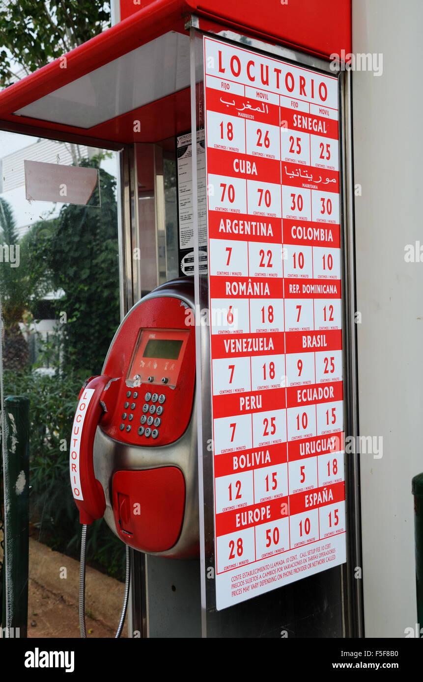 public phone box Ibiza - Stock Image