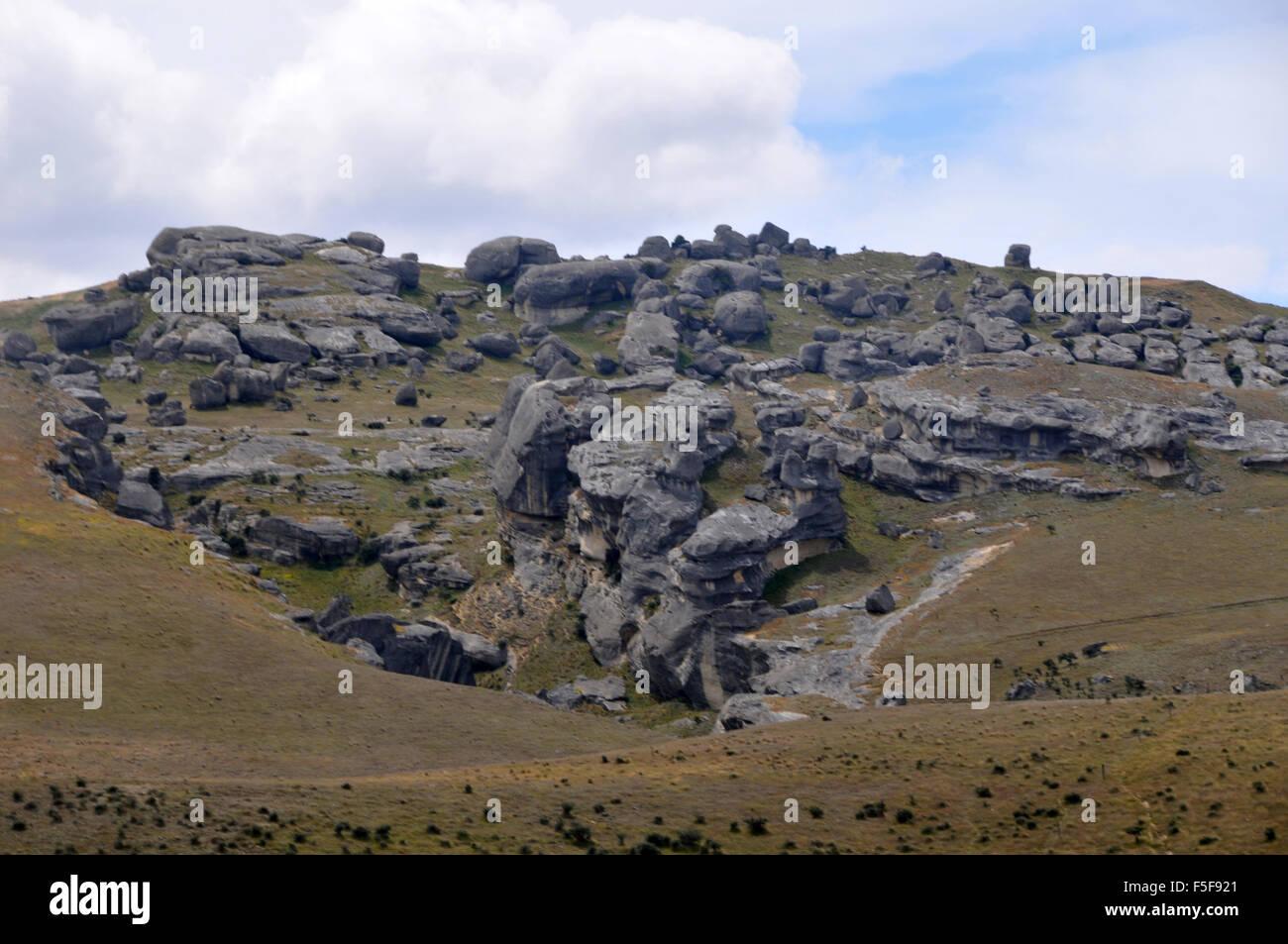 Kura Tawhiti or Castle Hill Conservation Area, Arthur's Pass, South Island, New Zealand - Stock Image