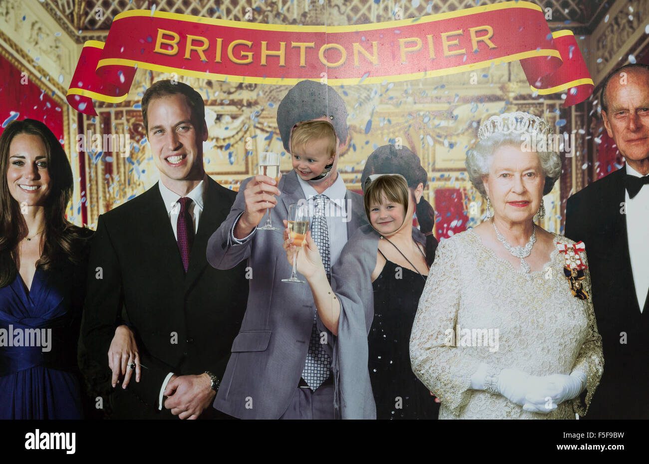 Brighton, United Kingdom, photo wall with the Royal Family - Stock Image