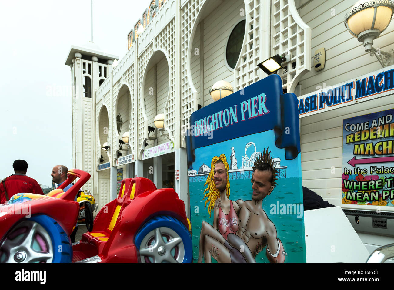 Brighton, United Kingdom, photo wall on the Brighton Pier - Stock Image