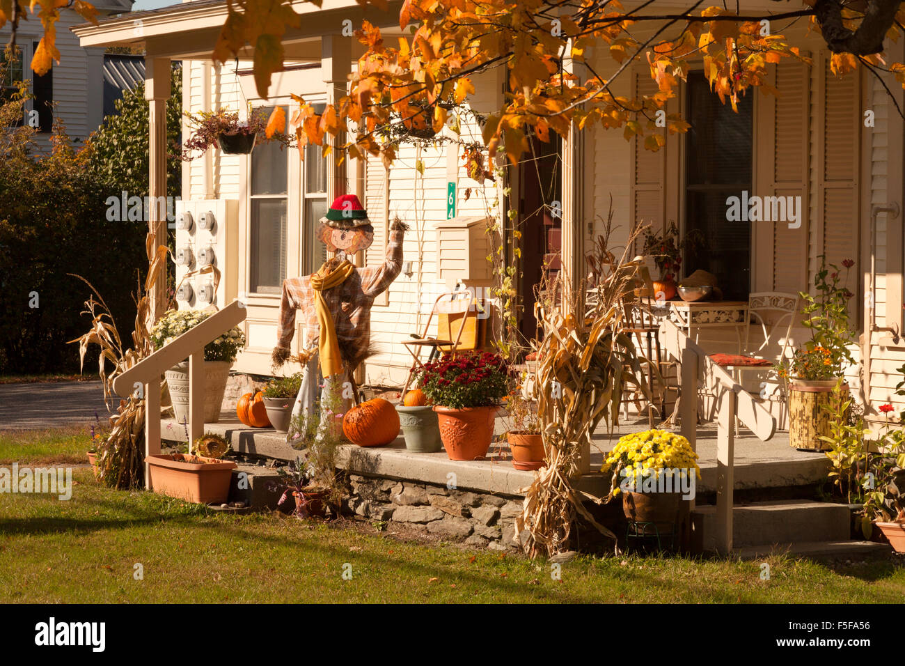 Halloween decorations on a house porch, Stowe, Vermont VT, New England USA - Stock Image