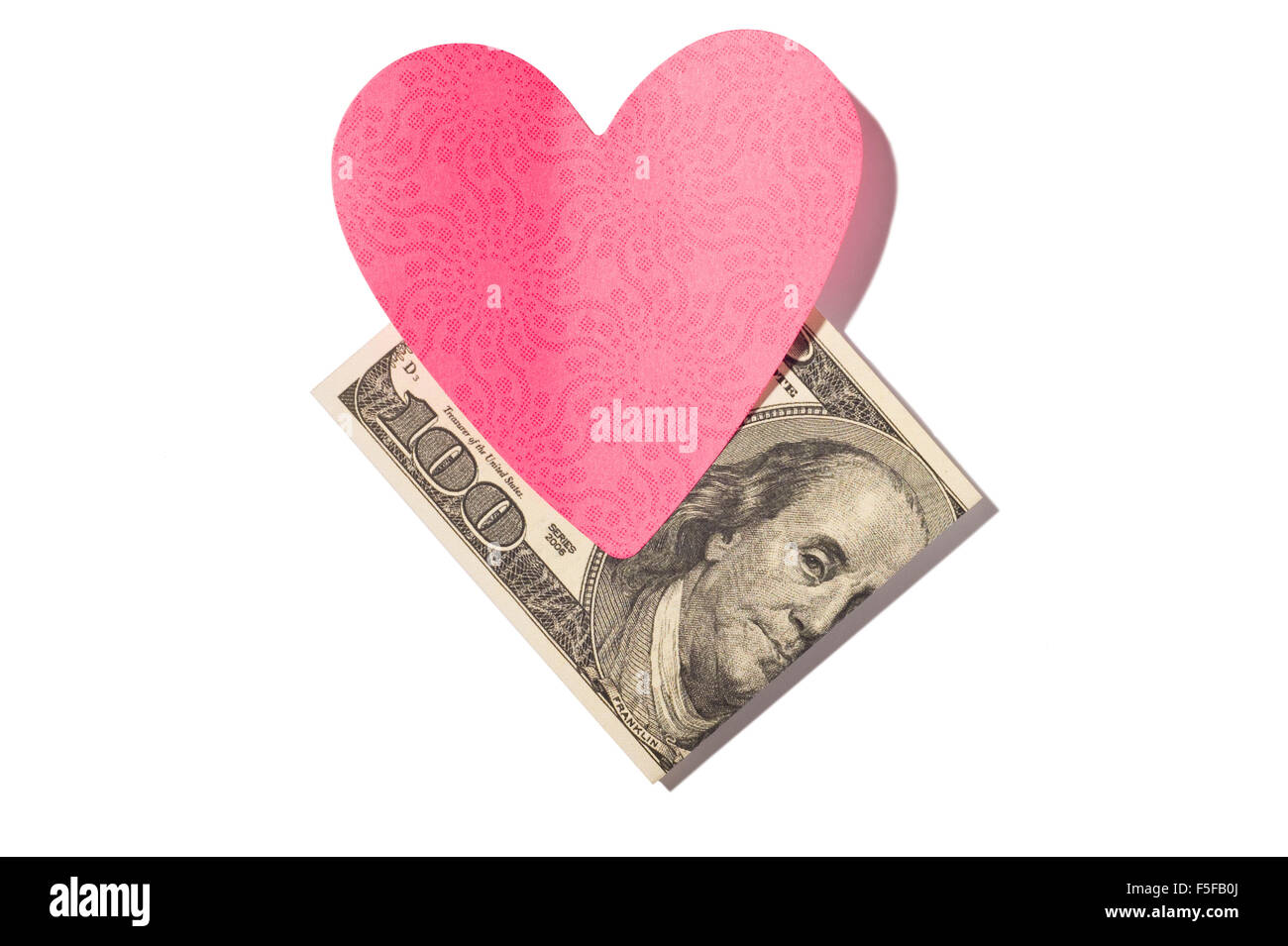 Folded One Hundred Dollar Bill With Heart-Shaped Postit Note - Stock Image