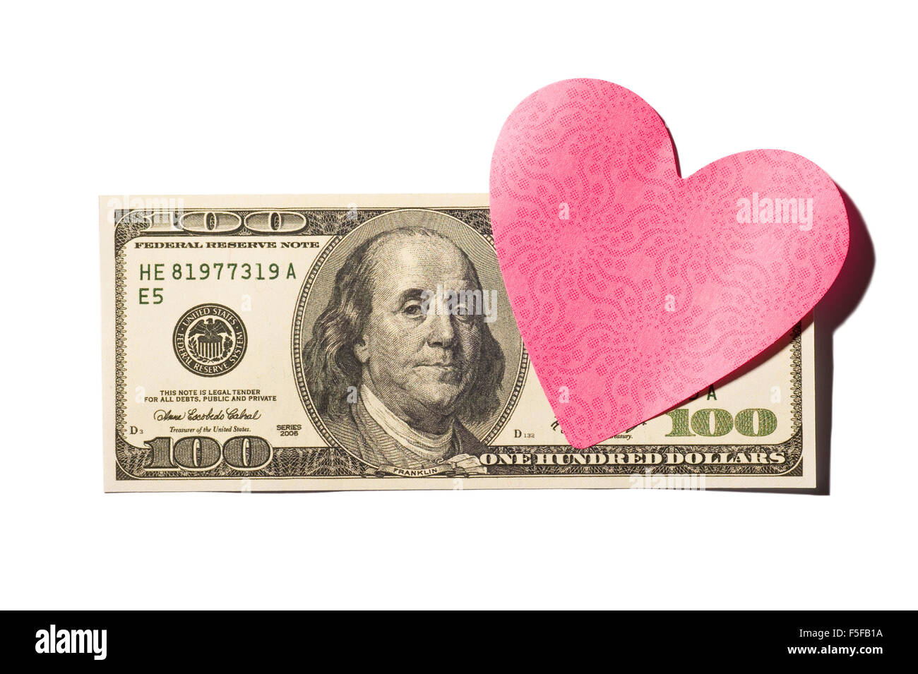 Hundred Dollar Bill With Heart-Shaped Postit Note - Stock Image