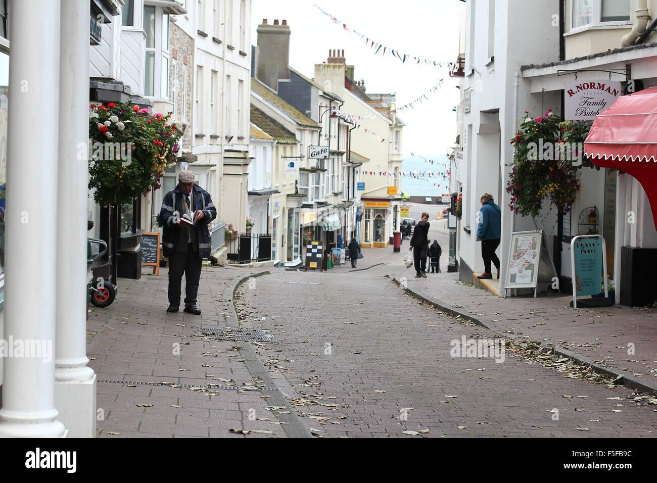 Street scene following road - Stock Image
