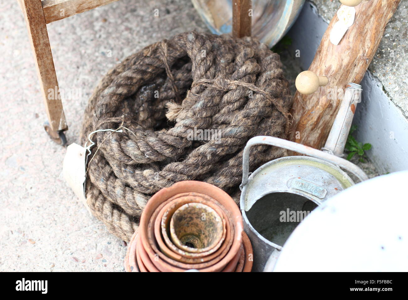coiled rope junk - Stock Image
