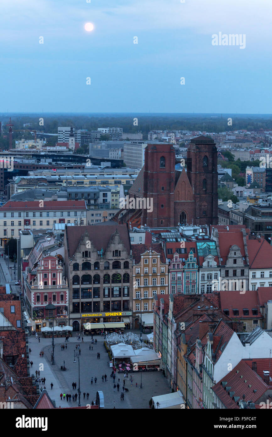Wroclaw, Poland, overlooking the Old Town Market Square - Stock Image