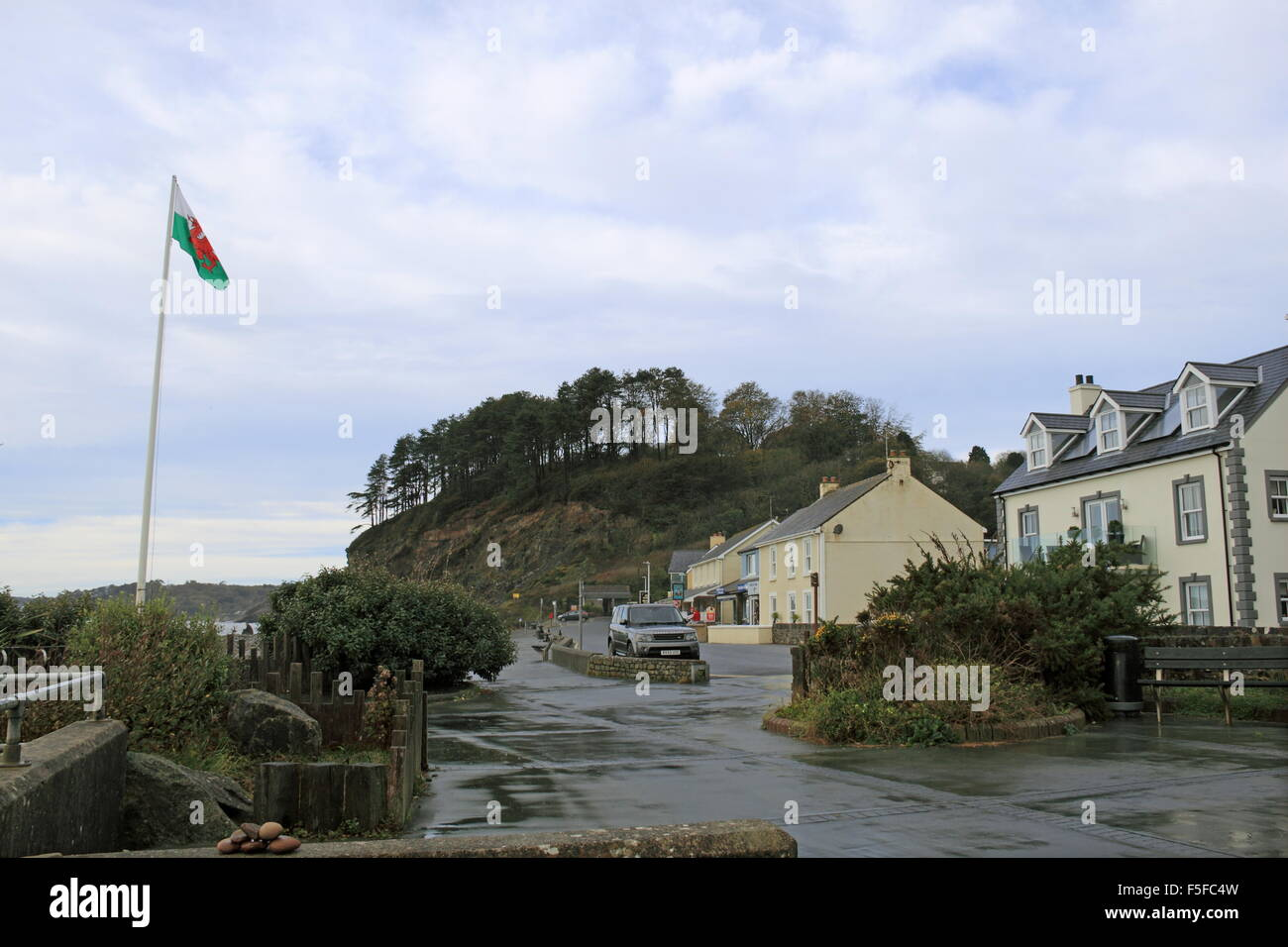 Amroth seafront, Carmarthen Bay, Pembrokeshire, Dyfed, Wales, Great Britain, United Kingdom, UK, Europe - Stock Image
