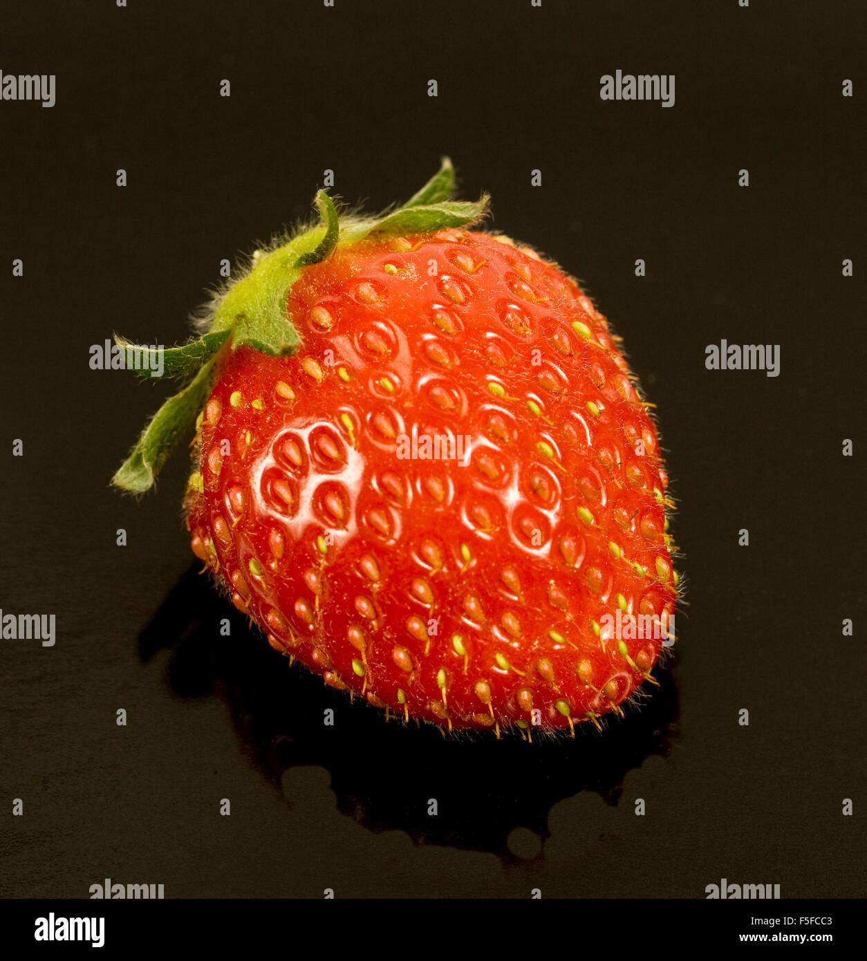 Strawberry on Black Background Stock Photo