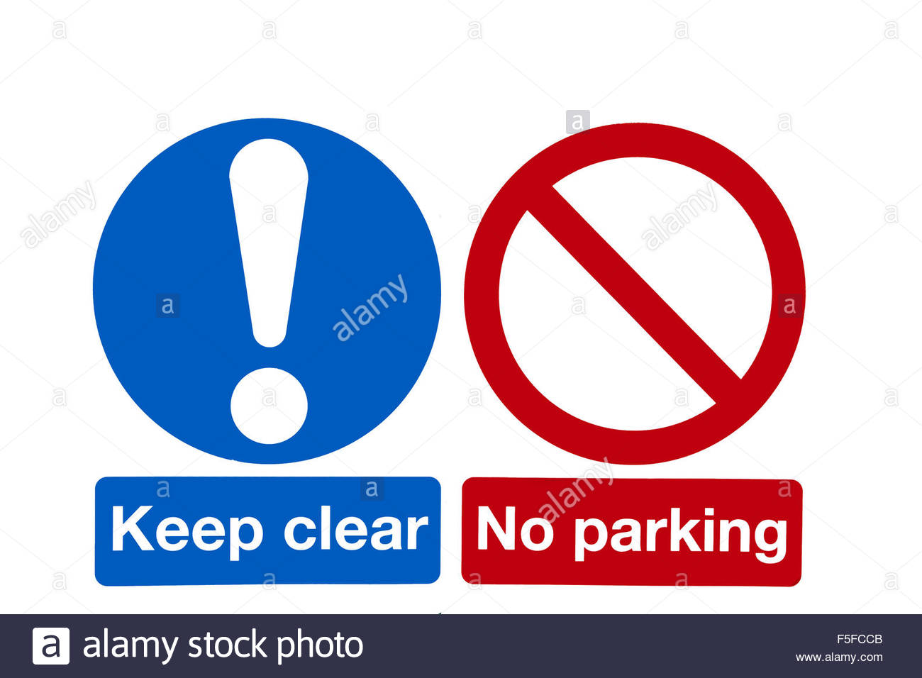 Cleaned up street signs, side by side: Keep clear and No Parking. Copy space - Stock Image