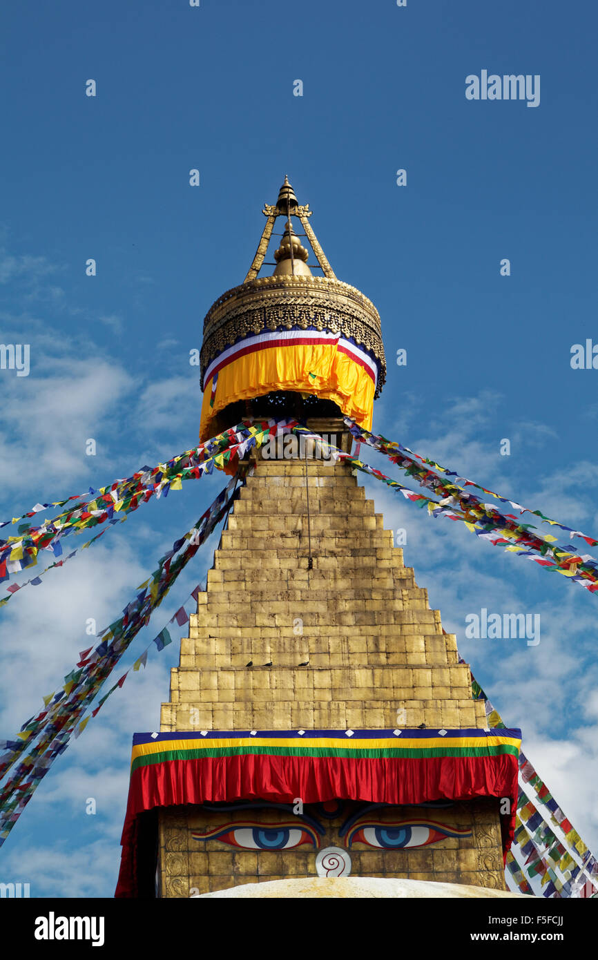The largest in Nepal, Boudhanath Stupa is revered as the holiest Tibetan Buddhist temple outside Tibet. - Stock Image