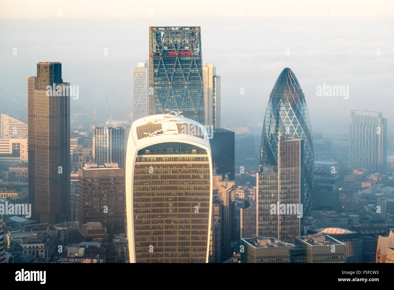 View from the Shard building London with fog and mist starting to rise over the London landscape looking northwards - Stock Image