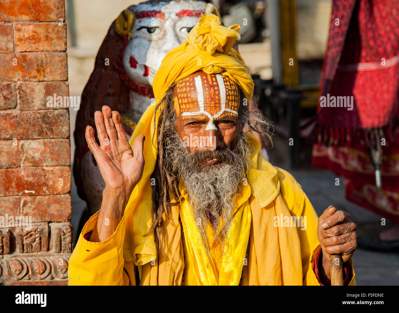 Sadhu,  a religious ascetic considered a holy person in Hinduism, on the streets of Kathma - Stock Image