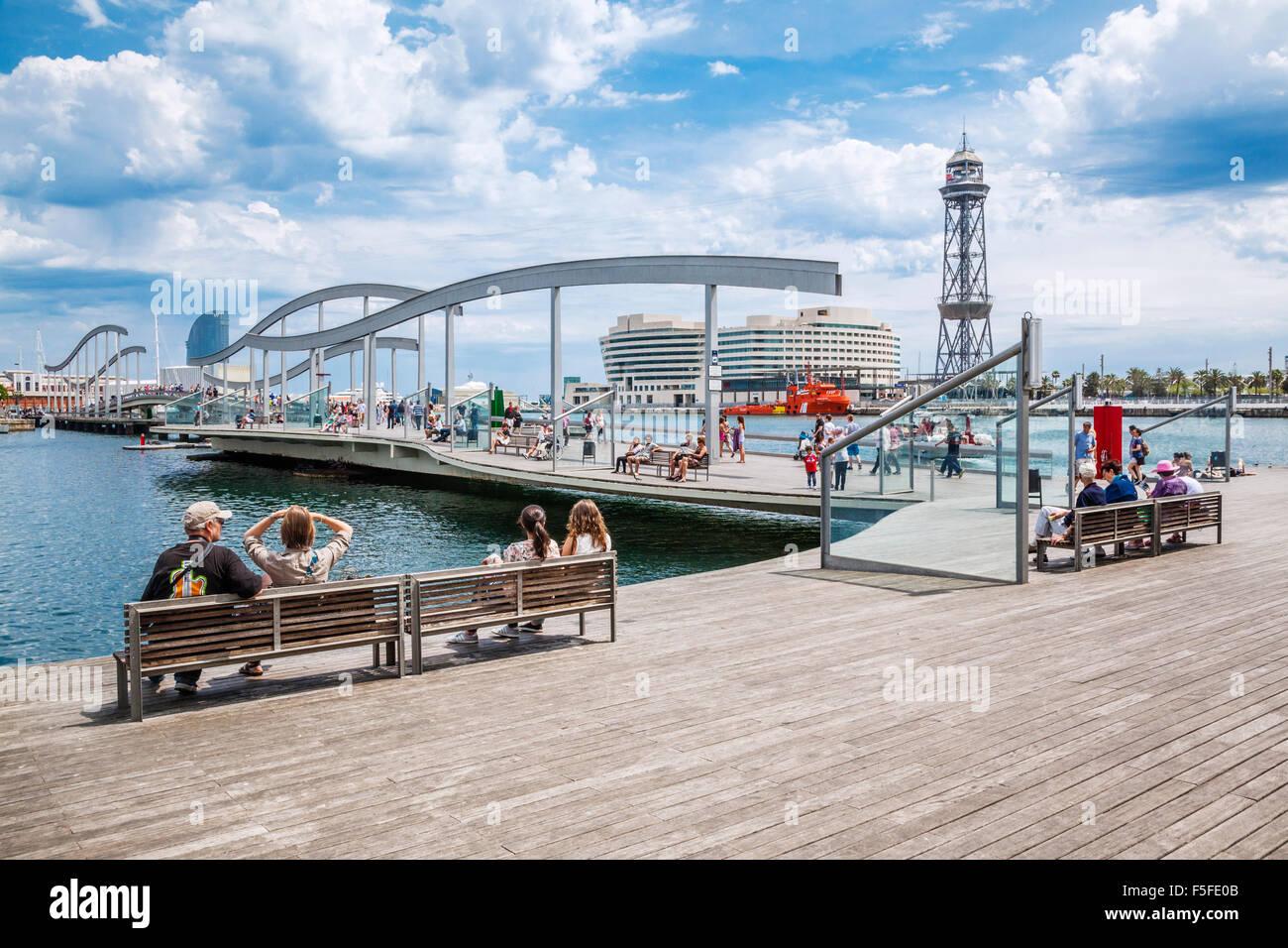 Spain, Catatonia, Barcelona, Port Vell, Rambla del Mar, Stock Photo