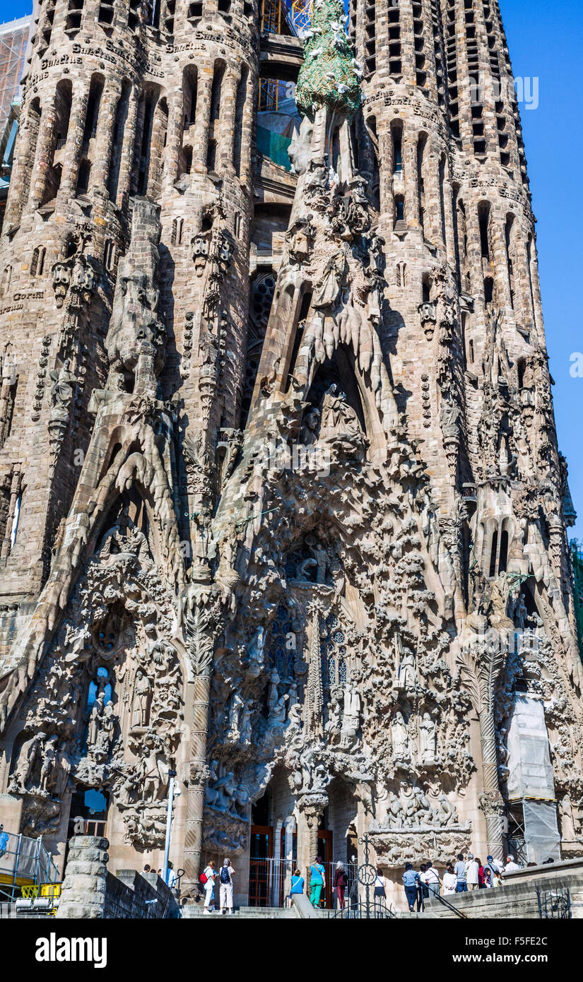 Spain, Catatonia, Barcelona, Basilica and Expiatory Church of the Holy Family, Sagrada Famila, designed by Antonio - Stock Image
