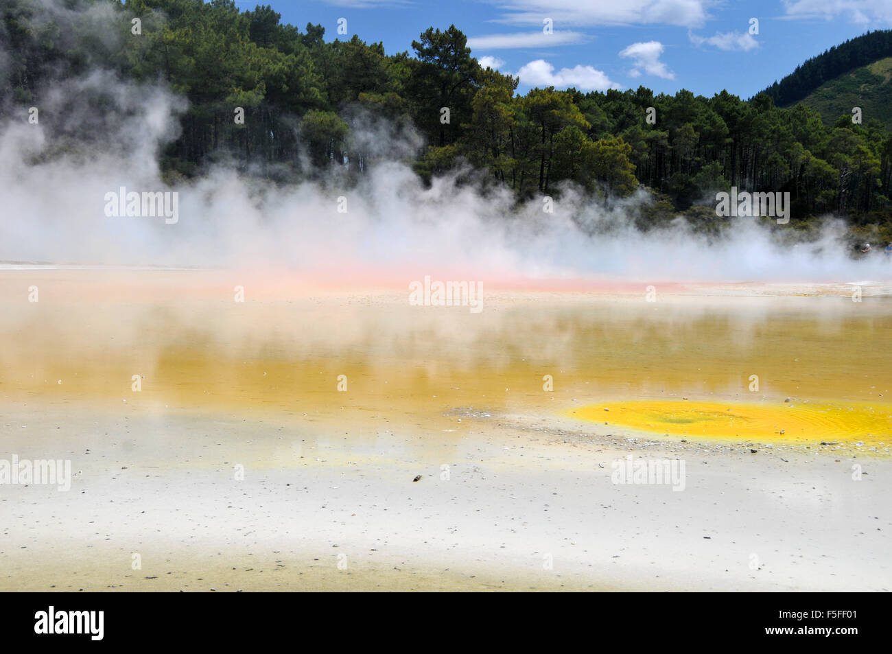 Waiotapu colorful thermal lake, Waiotapu Thermal Wonderland, Rotorua, North Island, New Zealand - Stock Image